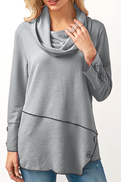 Lovely Fashion Turndown Collar Irregular Patchwork Button Decorative Grey Cotton Shirts<br>