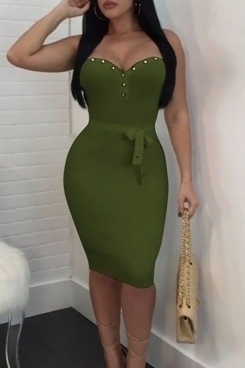 Lovely Sexy Strapless Button Decorative Green Healthy Fabric Sheath Knee Length Dress(With Belt) Dresses <br><br>