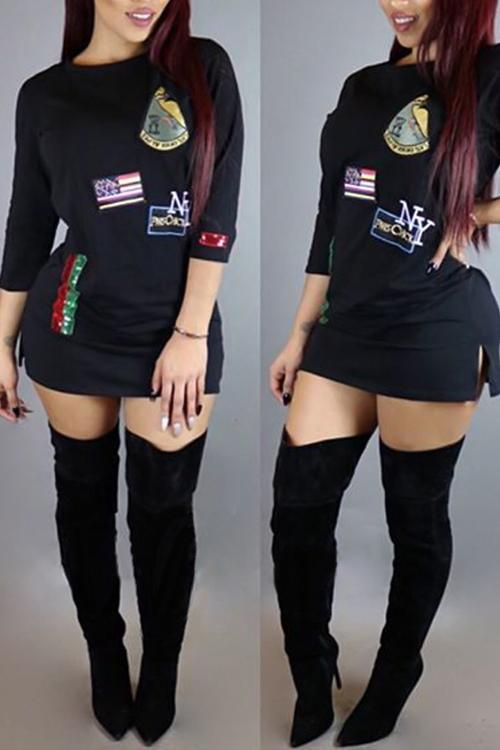 Lovely Casual Round Neck Cartoon Decorative Black Cotton  Blend  Mini Dress Dresses <br><br>
