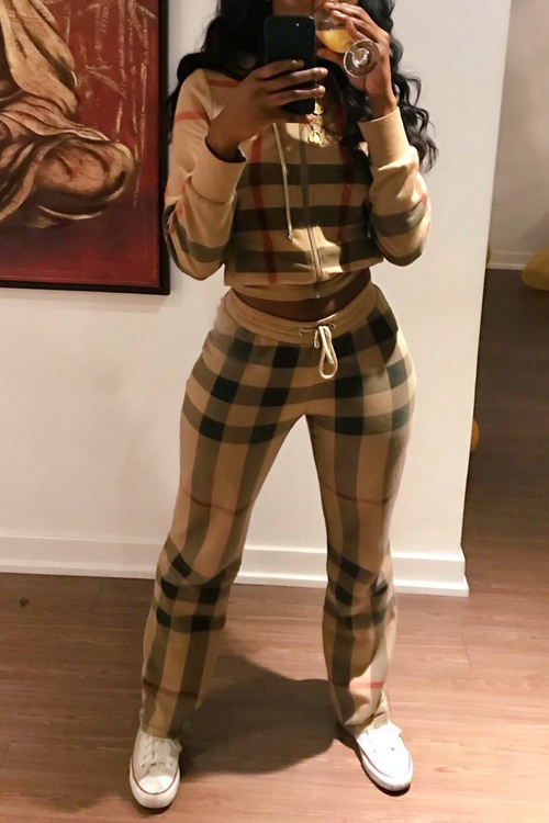 Lovely Fashion Hooded Collar Plaids Printed Polyester Two-piece Pants Set<br>