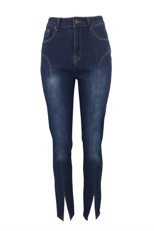 Lovely Fashion Mid Waist Slit Hem Deep Blue Denim Zipped Jeans<br>