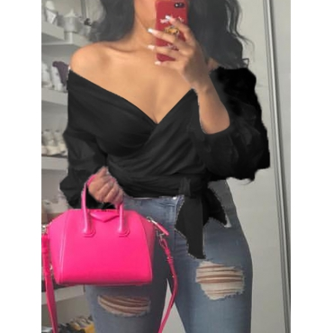 Stylish V Neck Long Sleeves Falbala Design Black Polyester Shirts<br>
