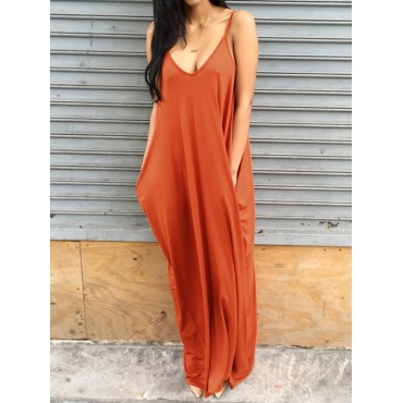 Casual V Neck Orange Blending Floor Length Dress Dresses <br><br>