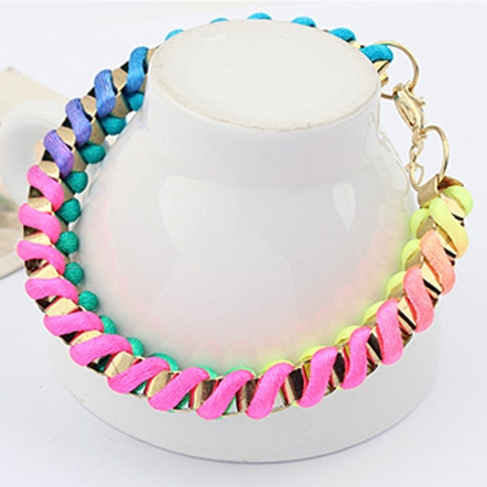 European Styles All-match Colorful  Weave Metal Bracelet