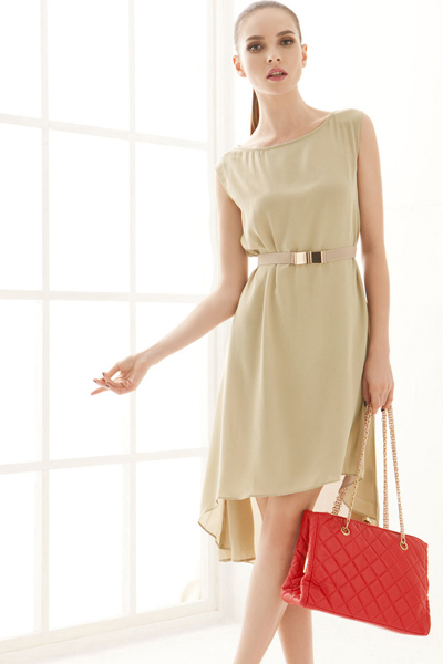 Fashion O neck Tank Sleeveless Asymmetrical Knee Length Green Chiffon Dresses