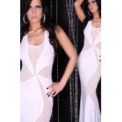 Sexy White Polyester Neckholder Gown with Rhinesto