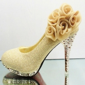 Latest Flower Embellished Round Closed Toe Super H