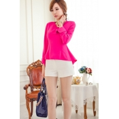 Hot Sales O Neck Long Sleeves Fishtail Solid Rose