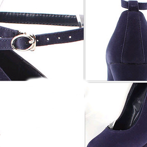 Elegant Round Closed Toe Super High Wedges Black Suede Ankle Strap Pumps