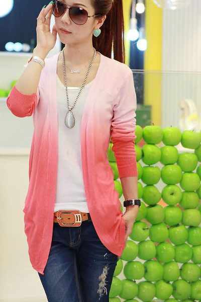 Fashion Long Sleeve s Grandualy Changing Colors Red Knitting Cardigan