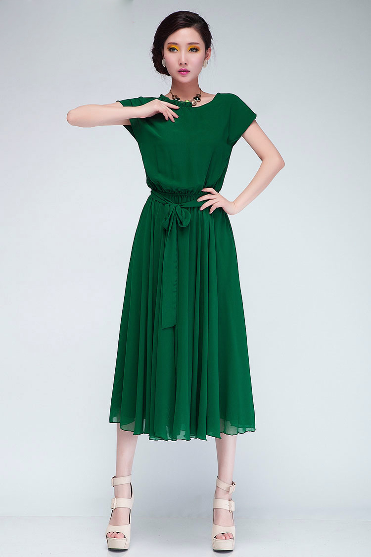Fashion Pleated O Neck Short Sleeves Green Chiffon Mid ...