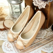 Fashion Lovely Round Closed Toe Beige PU Flats