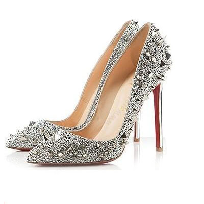 Cheap Silver Pumps womens shoes online Pointed Closed Toe heels pumps