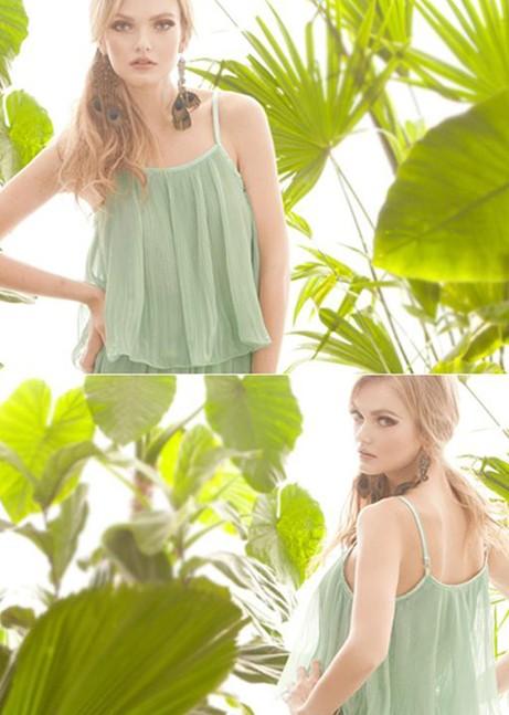 Fashion Fake Two-pieces Pleated Spaghetti Strap Sleeveless Green Chiffon Mid Calf Dress