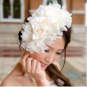 Elelegant Sweet White Gauze Bridal Flowers Headpie