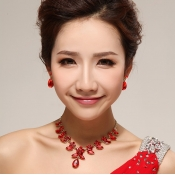Fashion Red Crystal Flowers Shaped Wedding Jewelry