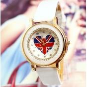 Fashion UK Flag Heart Shaped Print White Leather W
