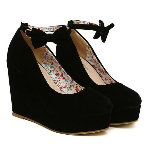 Модные круглые закрытые носки Супер высокие клинья Черные замшевые лодыжки