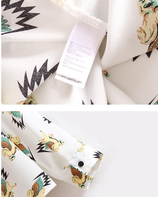 Lovely Horse Print Turndown Collar Long Sleeves Chiffon Blouse