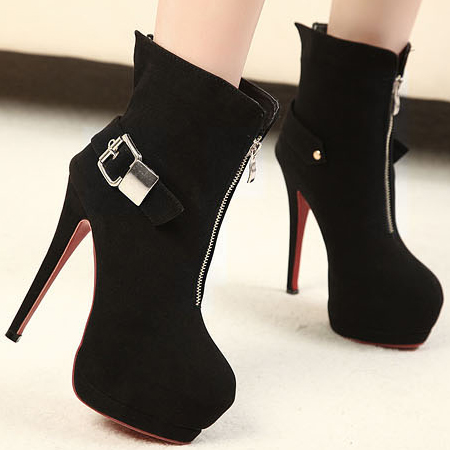 fashion round toe buckle strap stiletto high heels black
