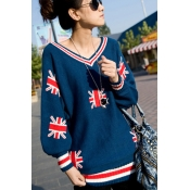 Casual Thicken UK Flag Print V Neck Long Sleeve Bl