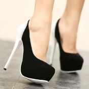 Fashion Round Closed Toe Platfrom Stiletto High He