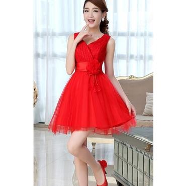 Fashion V Neck Sleeveless Knee Length Red Bridesmaid Dress