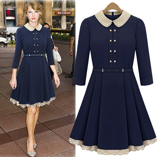 Fashion Turndown Collar Three Quarter Waist Navy Blue Knee Length Dress