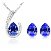 Fashion Blue Water-drop Shaped Crystal Wedding Jew