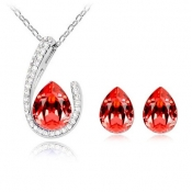 Fashion Red Water-drop Shaped Crystal Wedding Jewe
