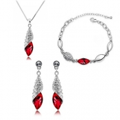 Fashion Red Crystal Wedding Jewelry Set