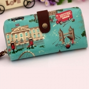 Fashion Character Girls Blue Denim Hasp Wallet
