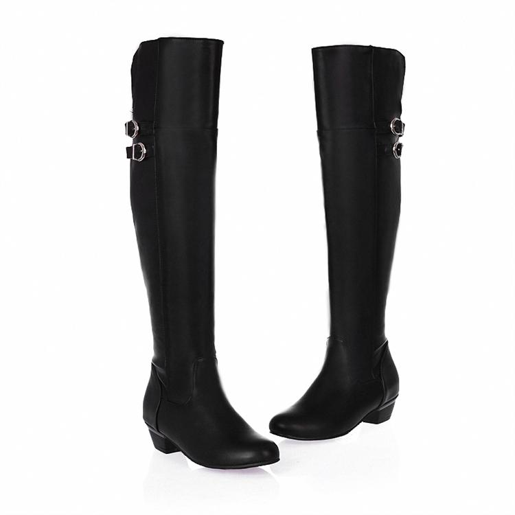 Winter Round Toe Stiletto Mid Heel Zipper Over the Knee Buckle Black Martens Boots
