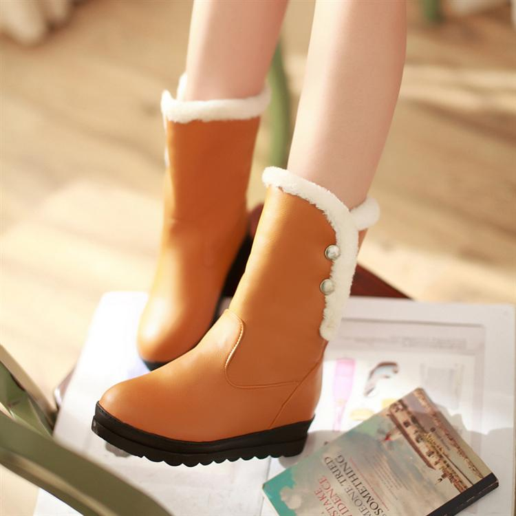 winter round toe flat low heel slip on ankle orange snow boo
