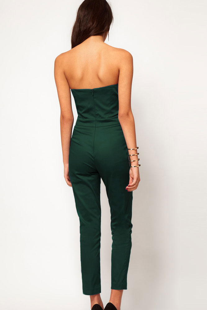 Sexy Solid Skinny Green Plyester Jumpsuits