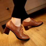 Fashion Round Toe Chunky Mid Heel Lace Up Ankle Br