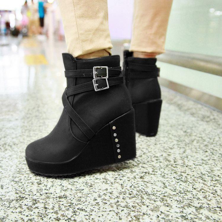 Мода круглый toe коренастый высокий каблук молнии пряжки черный PU лодыжки Мартенс сапоги