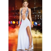 Sexy Sleeveless Sheath Ankle Length White Gowns&Ro