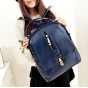 Women PU Solid Zipper Backpacks