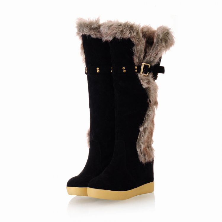 Winter Round Toe Flat Low Heel Slip On Rodilla Altas Plumas Negro Suede Snow Boots