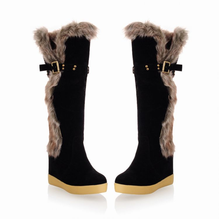 Winter Round Toe Flat Low Heel Slip On Knee High Feathers Black Suede Snow Boots