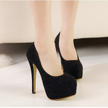 fashion round closed toe stiletto high heels black pu