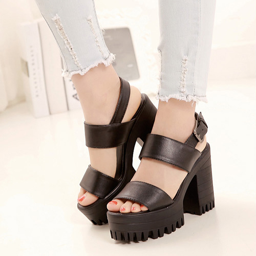 Fashion Chunky High Heel Ankle Strap Black PU Sandals