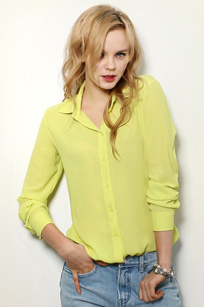 New Style Woman Turndown Collar Long Sleeve Solid Yellow