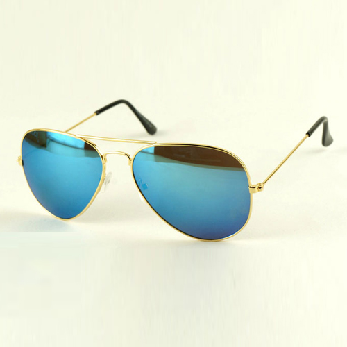 Fashion Gold Frame Blue Sunglasses