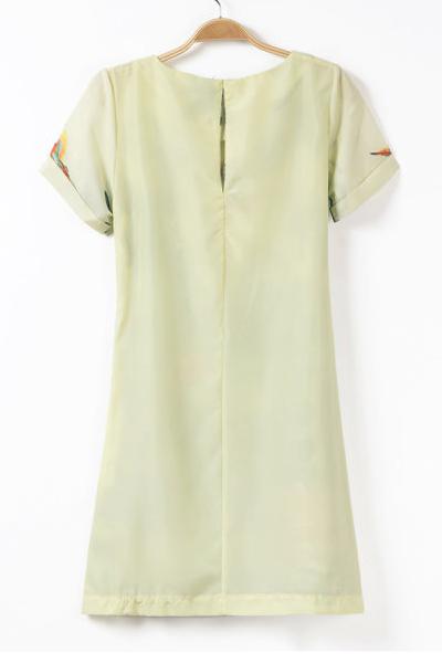 Fashion O Neck Short Sleeve Straight Print Mini Dress