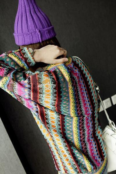 New Style Woman V Neck Long Sleeve Regular Rainbow Pattern Purple Acrylic Cardigan