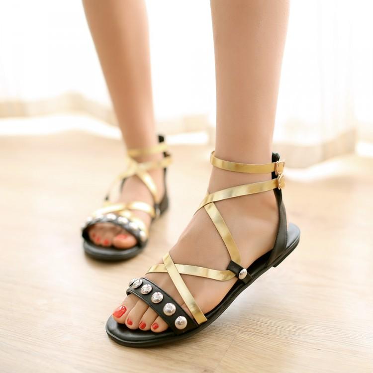 Fashion Flat Low Heel Cross Strap Black Pu Sandals Sandals