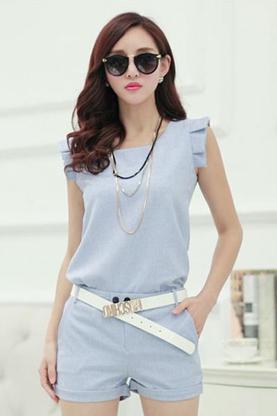 New Style O Neck Sleeveless Solid Blue Blouse+Shorts