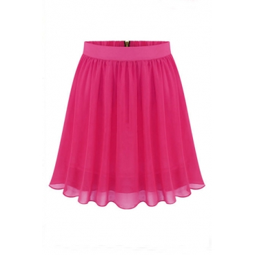 Fashion Woman Solid A Line Rose Red Chiffon Mini Skirt